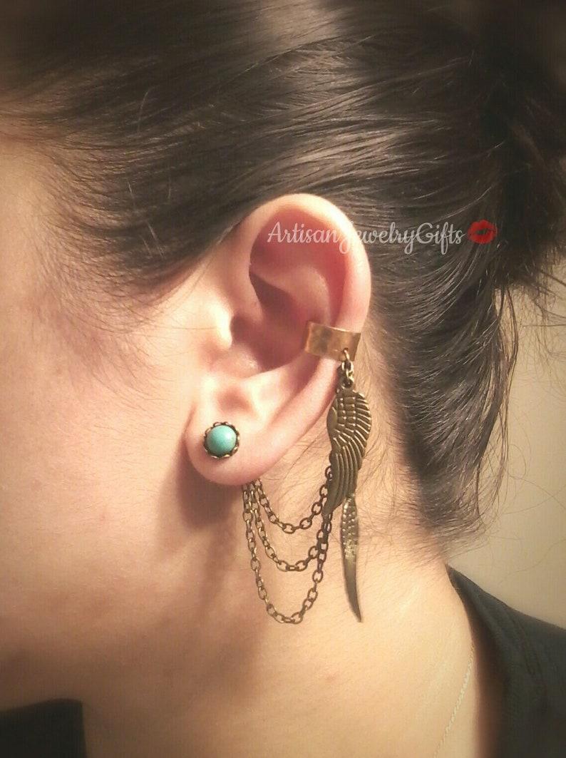 Boho Angel Wing Ear Cuff Earrings Set Turquoise Howlite Earrings Feather Ear Cuff Hipster Ear Cuff Draping Chain Ear Cuff Bohemian Earrings