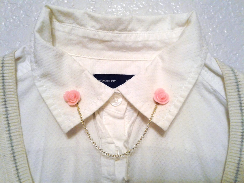 Rose Collar Brooch Gold Collar Chain Hipster Collar Pin Shabby Chic Sweater Pins BUY 2 GET 1 FREE Pink Rose Collar Pins Sweater Clips