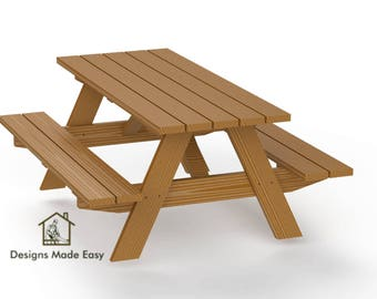 picnic table plans etsy
