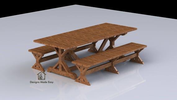 Diy Designer Picnic Table Bench Woodworking Design Plans Etsy
