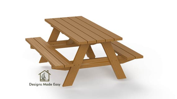 Surprising Diy Traditional Picnic Table Bench Woodworking Design Plans Instructions Pabps2019 Chair Design Images Pabps2019Com