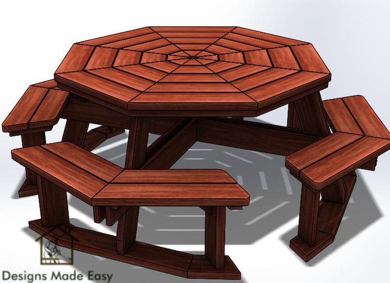 Octagon Picnic Table Easy Woodworking Design Plans Free Board Cut Diagram 03