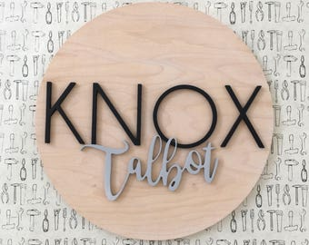 """Nursery Name Sign   24""""   Wood Name Sign   The Modern Mill   Custom Name Sign   Name Sign for Nursery   Round Name Sign   Letter Cutout"""