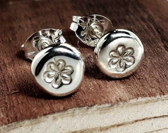 Recycled Sterling Silver Studs, hammered silver stud earrings, flower stud earrings, small silver earrings, in stock, handmade