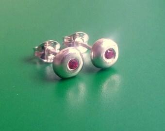 Silver earrings, silver stud earrings, pebble stud earrings