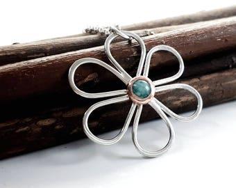 Sterling silver daisy flower pendant
