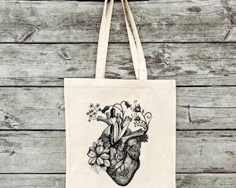 Hand-printed jute bag gym bag Botanical heart