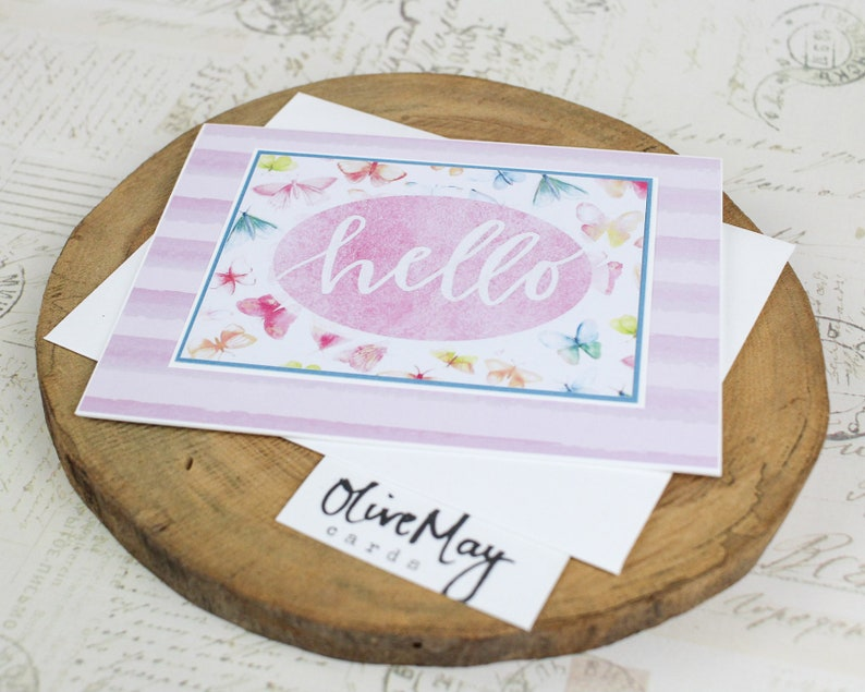 Soft pink stripes /& butterflies hello encouragement thinking of you card