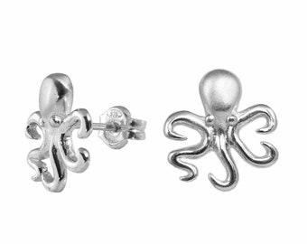 Octopus Earrings - Sterling Silver Octopus Stud Earrings, Octopus Jewelry Gift