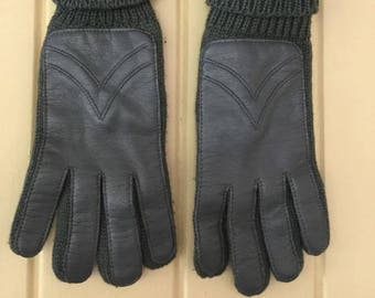 Vintage leather and knit gloves