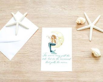 Mermaid In The Moon Alaska Stationary Greeting Card |Christmas Gift for Women| Birthday Card|