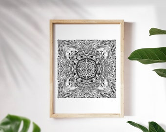 Pacific Swell - black & white ethnic boho surf style mandala art print poster in giclée quality