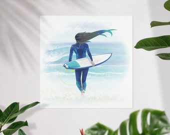 Surfmaid - ocean lover surfer girl at the beach with surfboard art print poster in giclée quality