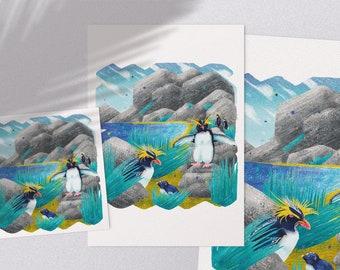 Penguins - printable arctic island wildlife illustration poster