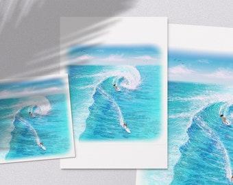 Wave Rider - printable surfing blue ocean waves illustration poster