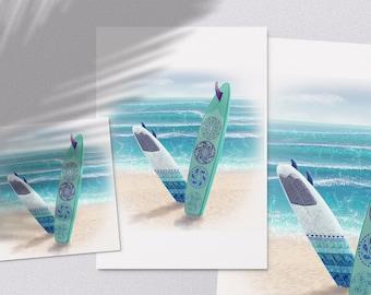 Surf Break - printable summer on the beach surfboards surf illustration poster