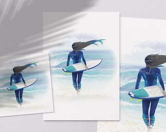 Surfmaid - printable ocean lover surfer girl at the beach with surfboard illustration poster