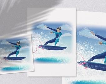 Rippin - printable ocean surfer girl doing an air like Carissa Moore surf illustration poster