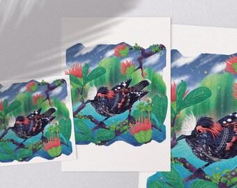 Akohekohe - printable tropical Hawaiian bird illustration poster