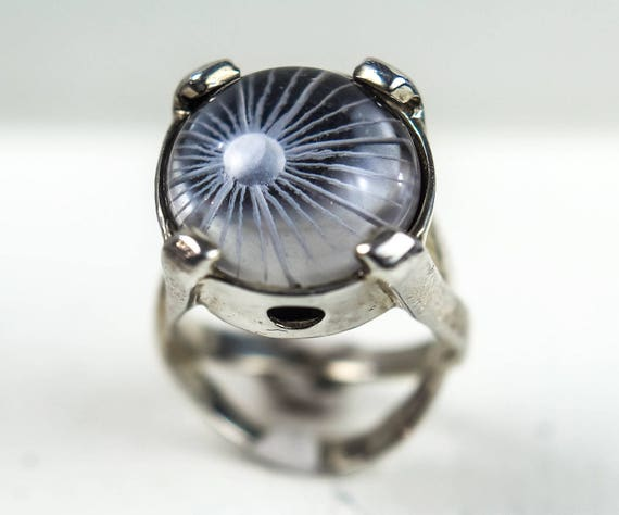 rock crystal mystic chunky ring healing crystals intaglio signet witch quartz silver ring celestial jewelry