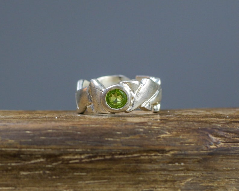 sterling silver stackable solitaire ring Peridot gemstone silver stacking green birthstone ring designer brutalist band greek jewelry