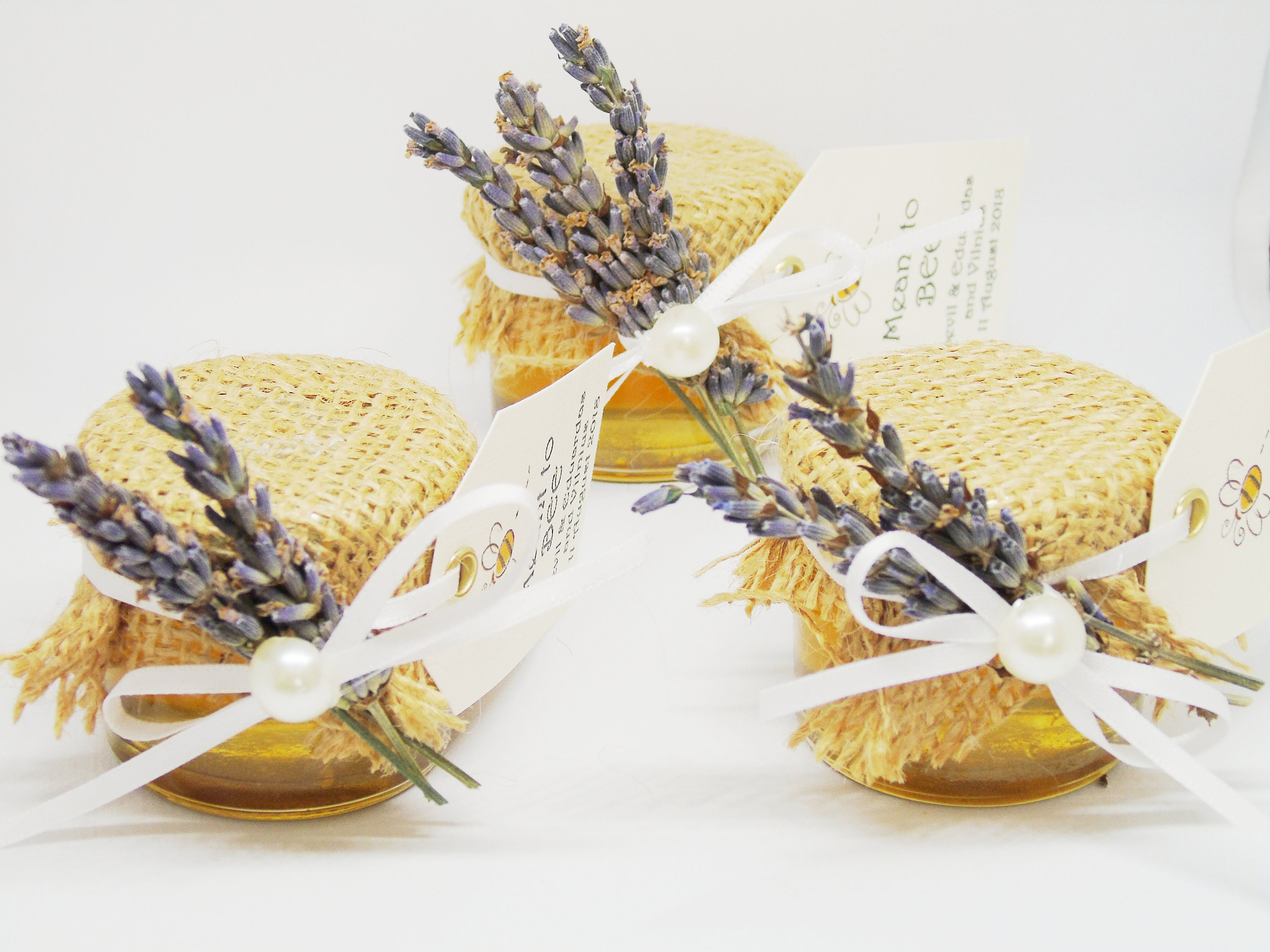 Honey jar favours wedding favours burlap favours Lavender