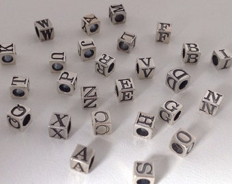"""Lot of 2 Initial Letter /"""" D /"""" Pewter Metal Square BEAD 6x6mm W// 3mm Hole"""