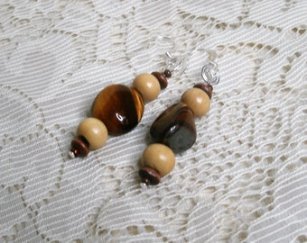 Handmade earrings made with Tigers eye and wood. Always FREE shipping!