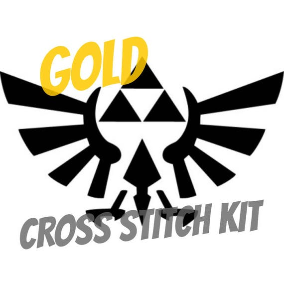The Triforce From Legend Of Zelda Cross Stitch Kit With Gold Etsy