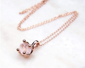 Rose Quartz Necklace. Rose Gold Necklace. Rose Quartz Pendant. Rose Gold Wedding Necklace. Wedding Jewelry. Bridal. Fine Rose Gold Chain.