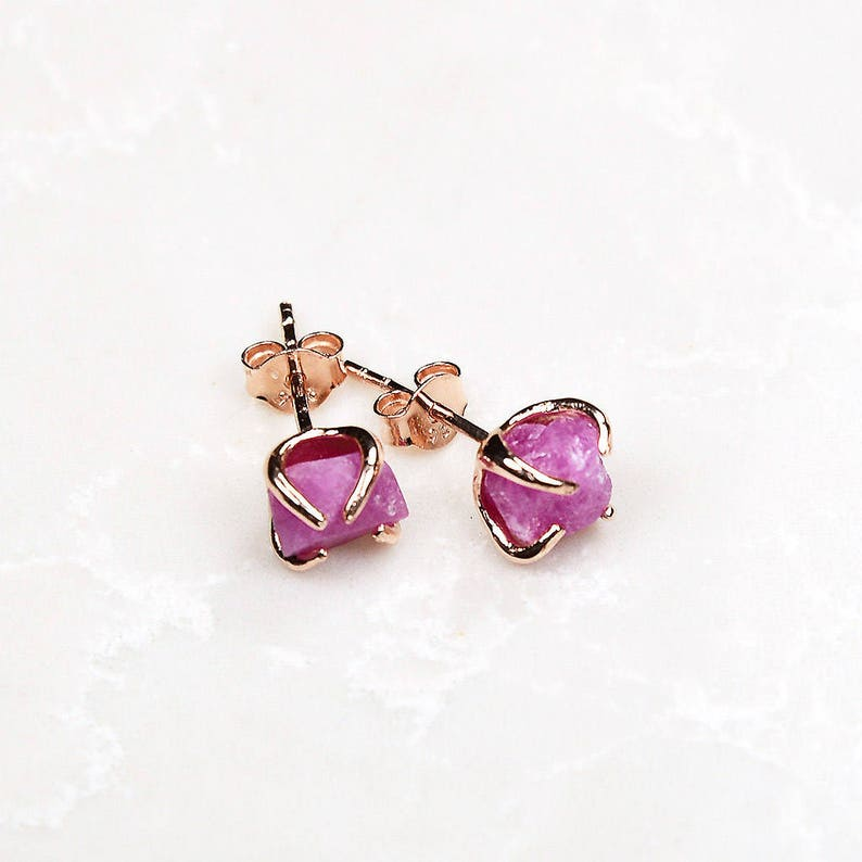 Bridesmaid Gift Rose Gold Pink Ruby Earrings Small ruby earrings Ruby Gold Earrings Raw Ruby Earrings Ruby studs Pink gemstone earring