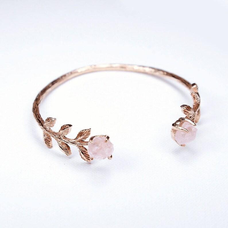 fc4c84c2ec5cdd Bridal Cuff. Rose gold Cuff & Rose Quartz Cuff. Rose gold   Etsy