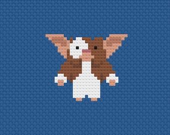 Gremlins Gizmo Mogwai cross stitch pattern digital download - 80s movies - geek embroidery