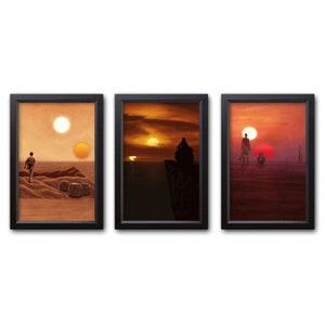 Hoth Framed Posters Tatooine Art Prints Star Wars Painting Set Endor
