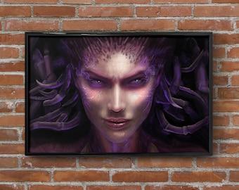 "Sarah Kerrigan Art Print StarCraft Painting Queen of Blades Zerg Print Wall Art Matted Print Framed Print Swarm Video Game Art 4""x6"" 11""x17"""