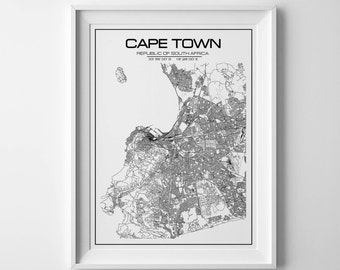 Cape town map etsy cape town map print south africa poster city map art city poster cape town poster cape town print city print wall art map of africa gumiabroncs Choice Image