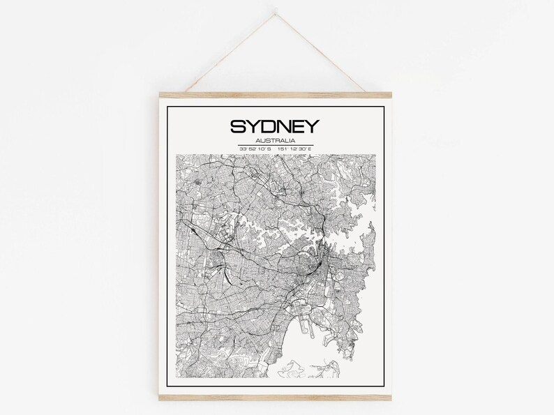 Sydney map poster print wall art Sydney gift printable   Etsy