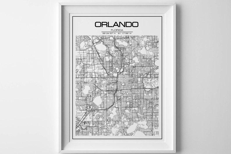 Orlando Florida On Us Map.Orlando Map Florida Map Instant Download Poster Print Wall Art Modern Map Decor Nursery Decor Orlando Street Map Personalized Map