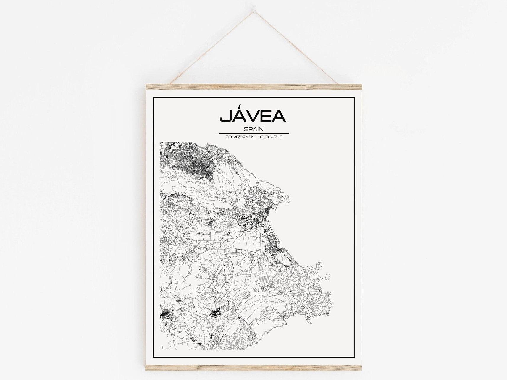 Javea Map Poster Print Wall Art Spain Gift Printable Etsy