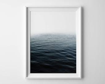 Abstract ocean print, ocean waves print, Summer outdoors, ocean waves art, blue water, printable, horizon print, Ocean print, fog poster
