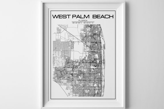 West Palm Beach Florida Map.West Map Florida Map Instant Download Poster Print Wall Art Etsy