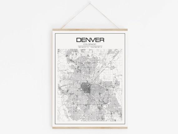 Denver World Map.Denver Map Usa Map Gift Ideas Travel Map Denver Print Etsy