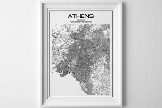 Athens map print. Athens digital map art poster. Athens Greece | Etsy
