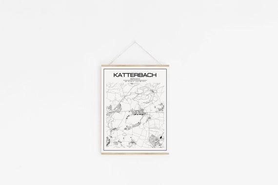 Katterbach Germany Map.Custom Print Katterbach Map Etsy