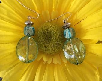 Handmade Teal Acrylic Earrings With Silver/Blue Beads