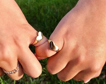 Women Fashion Ring Silver S.Steel Chevalier Heart Shape Crystal For Pinky Finger