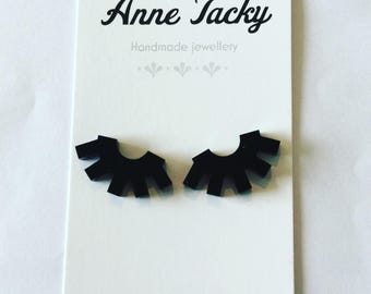 EYELASH stud earrings black laser cut acrylic 15mm