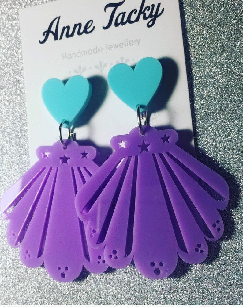 MERMAID SHELL earrings laser cut acrylic lilac /& turquoise shells dangle earrings tacky seashells  festival