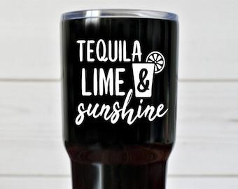 c29bf5f6eba Tequila Lime & Sunshine Vinyl Decal, Adult Decal, Tequila Decal, Decal For  Tumblers, Decal For Water Bottles, Wine Glasses