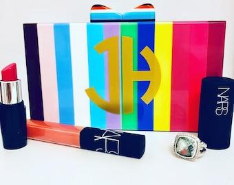 Striped Acrylic Box Clutch
